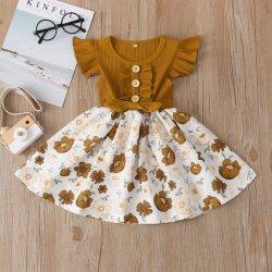 Nuevo estilo lindo sin mangas para el verano de patrón de flores fuera el vestido de novia vestidos de niñas para bebés