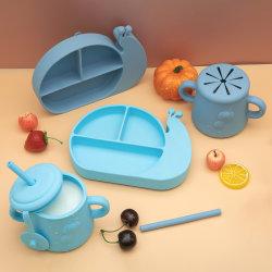 Unieke Eco Snail Baby Dinnerware Bowl Bib Cup siliconen platen