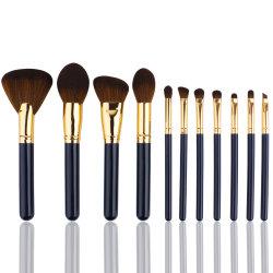 Private Label горячая продажа косметических Щетка 12ПК синтетические щетки для макияжа черного цвета деревянной ручкой Eyeshadow макияж Набор щеток