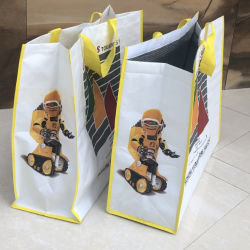 La impresión personalizada PP laminado metálico reutilizables tejida Tote Bolsas con aislamiento interior