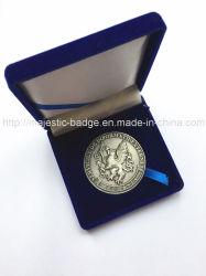 Custom 3D Metal chapado en Material de aleación de zinc de la moneda de plata antigua moneda con la caja de terciopelo de desafío para el recuerdo