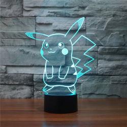 Vente chaude Consumer Electronics Don Pokemon Pikachu 3D'illusion de la lampe de nuit