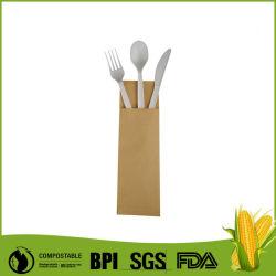 """6 """"ホテルのために包まれるCompostable生物分解性のCplaの食事用器具類キットのクラフト袋"""