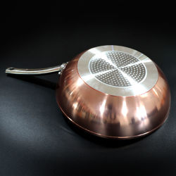 Anti-adherente de aluminio forjado de cobre de mármol Wok sartén con mango de acero inoxidable