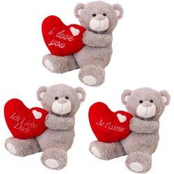 Osito de peluche de felpa suave corazón rojo de Valentin