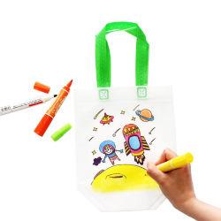 Custom por grosso não tecidos desenho infantil DIY saco de mão de pintura