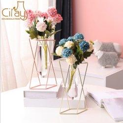 Home Decorationのための軽いLuxury Geometric Glass Vase