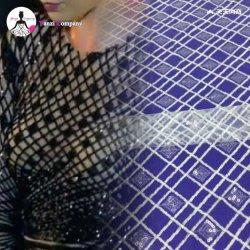Tejido de Red Africana de la moda de encaje bordado de lentejuelas para dama parte