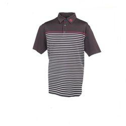엠브로이더드 로고가 있는 커스텀 스트라이프 브라운 골프 폴로 셔츠