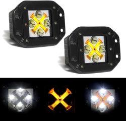 أغطية LED للتركيب المسطح، مصابيح القيادة 5 بوصات مصابيح LED مصباح العمل مصباح العمل مصباح LED مصباح الشطف مع مصابيح الضباب الساطعة ذات مصابيح التحديد العالي لأضواء النهار (DRL) باللون الكهرماني ومصابيح الضباب خارج الطريق لشاحنات الدفع الرباعي