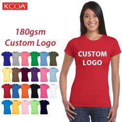 Llanura de la moda de alta calidad impresa personalizada de la Mujer Camiseta personalizada