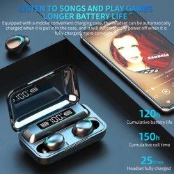 Microfono senza fili senza fili della cuffia avricolare della Banca di potere della visualizzazione di LED della cuffia di Bluetooth V5.0 F9-5 Tws Bluetooth del trasduttore auricolare 1200mAh