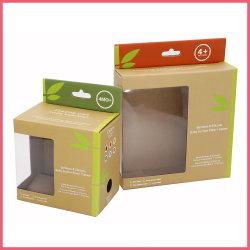 Fsc imprimé personnalisé Papier ondulé bambou Produit au Détail Cuillère bol plat de la plaque de l'ustensile vaisselle Jouet de l'emballage d'emballage cadeau avec oeillet de suspension de la fenêtre boîte en carton