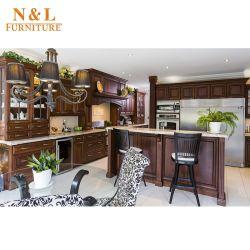 Grano de madera de lujo muebles armario de cocina con electrodomésticos Blum