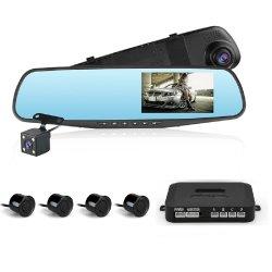 """4.3"""" 1080p HD Car DVR зеркало заднего вида автомобиля Dash Cam черный ящик с Visual парковочный датчик"""