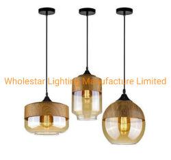 Lâmpada Pendente de vidro moderna com acabamento em madeira / Luz Pendente de vidro (WHP-0149)