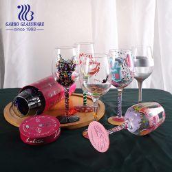 أدوات زجاجية مصبوغة يدويًا DIY Bouquetier قطعة فنية فريدة زجاجة نبيذ أبيض أحمر 15 أونصة