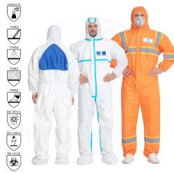 Tipo 3 4 5 6 chimico/ignifugo/Fr/microporoso/PP/SMS/industria impermeabile/laboratorio/sicurezza/lavoro/ non tessuto monouso Tuta protettiva Cat3 CE en 14126 1149