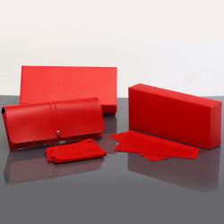 Geval van de Zonnebril van de Douane Witte Pu van het Af:drukken van het Embleem van de Verpakking van het Karton van de Zak van de Glazen van de Gevallen van de Kleur van de luxe het Veelvoudige Zwarte Rode Zachte