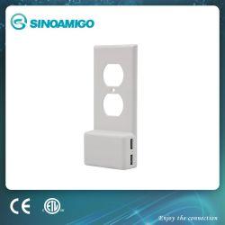 Placa de pared con salida USB dúplex con 2 USB Cargador- Certificado de Seguro de ETL