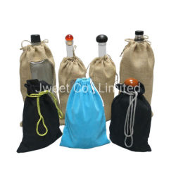 Le velours de coton de liqueur de jute Tissu d'emballage de spiritueux Sac de bouteilles en verre