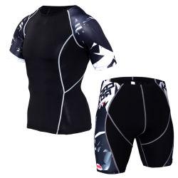 Compression Sport Suit 남성용 Sportswear Trackshit 반팔 러닝 T 셔츠와 쇼츠