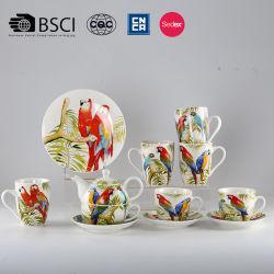 Китайском стиле цветы и птицы керамики и фарфора черного чая Suite
