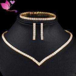 High Grade Brass Zircon ketting Oorbellen Armband Indian Jewelry Jewelry Sets
