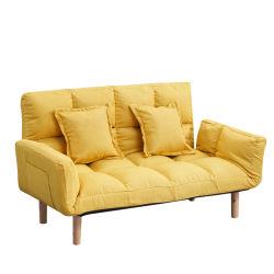 北欧様式の家具、木製フレームのソファベッド、アームレスト付き