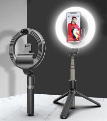 L07ポータブル16cm LEDのリングライトBluetooth Selfieの棒の三脚