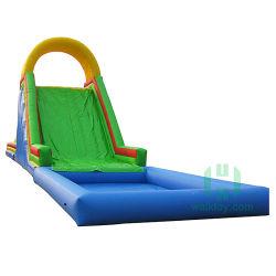 PVC屋外の娯楽おもちゃのプールの弾力がある滑走を用いる膨脹可能な警備員水スライド