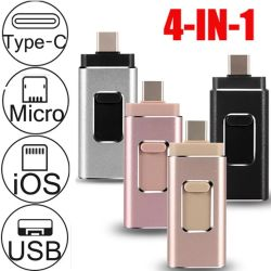 4 em 1 unidade Flash USB 128 GB 64GB, 32GB, 16GB OTG Pen Drive para iPhone/Android Market /Tipo C