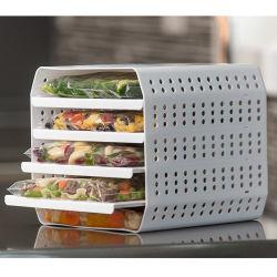 Пластиковый домашняя кухня холодильник питание Питание фруктов овощей морозильной камере полки для установки в стойку Climate Savers контейнер для хранения прибора с 5 уровнями
