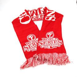 100% acrílico tejido Jacquard bufanda del equipo de fútbol de aficionados al fútbol con el logotipo del equipo de fútbol