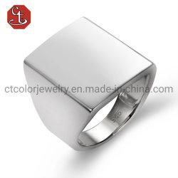 Joyería de moda 925 Plata Plain Square Rings dedo personalidad Hombre Diseño de joyas
