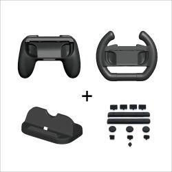 El cargador Dock titular de la empuñadura cubierta de polvo en el volante para cambiar el juego de Nintendo accesorios Kit de juego