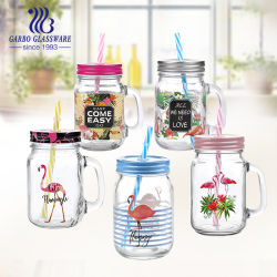 Straw Glass Mason 머그컵이 있는 친환경 다양한 크기의 식사용 용기 뚜껑이 있는 투명 유리 메이슨 병