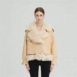 La personalidad y de la moda Nick Chaqueta estilo corto de lana 100% Lana cuero abrigo de piel