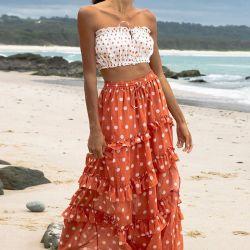 Оптовая торговля плюс размер женщин Лонг Бич оранжевый юбка с белой точкой и 100% хлопок для женщин туристский пляжа побережья