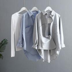 Venta caliente adaptado 100% algodón liso Manga Larga Camiseta Mujer Blusa estilo impreso