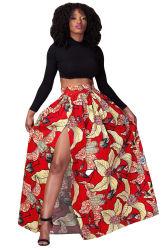 África el patrón de la moda Floral rojo impreso dividido alto Maxi falda