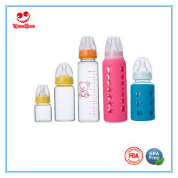 bottiglia di bambino di vetro classica di 2oz/4oz/8oz alta Borosilicon con il capezzolo molle