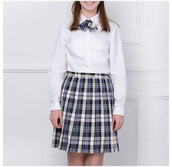 Mode de contrôle de tissu de teinture de fils de Tc pour l'école École fille jupe uniforme