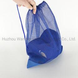 Cheapest logo personnalisé de l'impression maille polyester coulisse plage sacs à linge