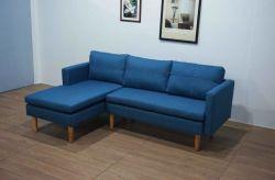 Belo Azul simples U Sofá sofá de canto com a senhora assento, pernas de madeira