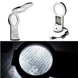 3X/4,5 x/6X USB o de Batería soporte plegable LED Lupa