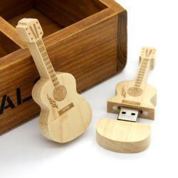 Nueva forma de guitarra de la moda unidad Flash USB de madera de palo como regalos promocionales Pendrives USB guitarra