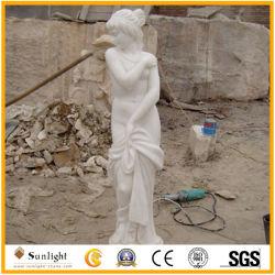 庭DecorationのためのStone Statue White Jade Marble Sculptureを切り分けること