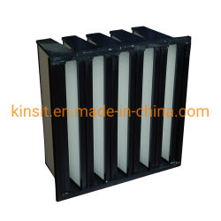 De zwarte ABS Leveranciers van de Filter van de Lucht van de Zuiveringsinstallatie van het Luchtzuiveringstoestel HVAC van het Type van Vorm van het Frame Commerciële V Glasvezel Gecombineerde Middelgrote