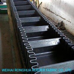 Ep/Hochtemperatur-/Hitzebeständigkeit/runzelten Seitenwand-Förderband mit Naturkautschuk und Bügelen